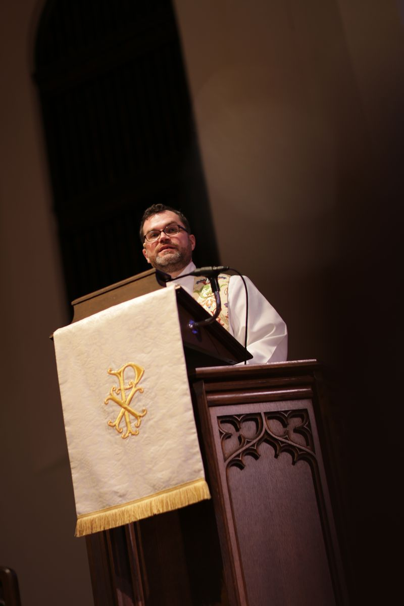 Scott in pulpit